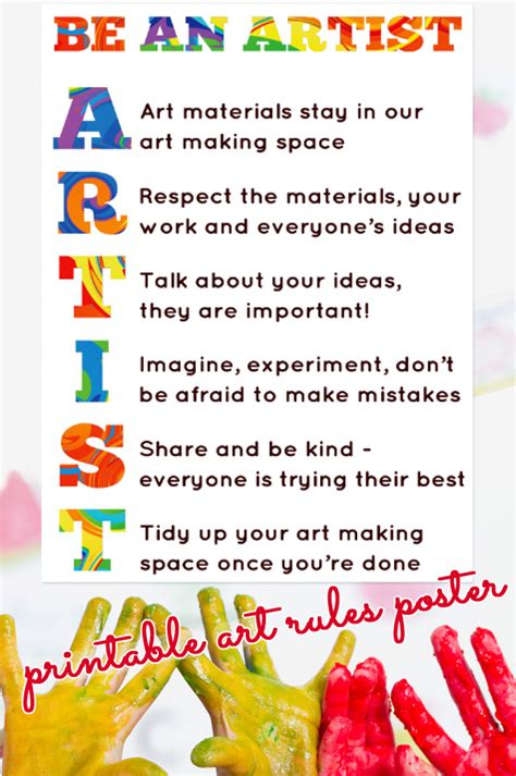 printable art posters our art room rules printable poster childhood101