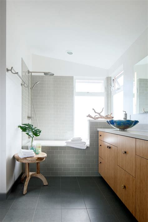 gray subway tile bathroom Bathroom Traditional with