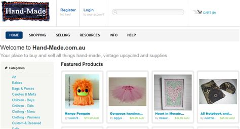 Handmade Crafts Websites - collection of 15 websites list to sell and buy