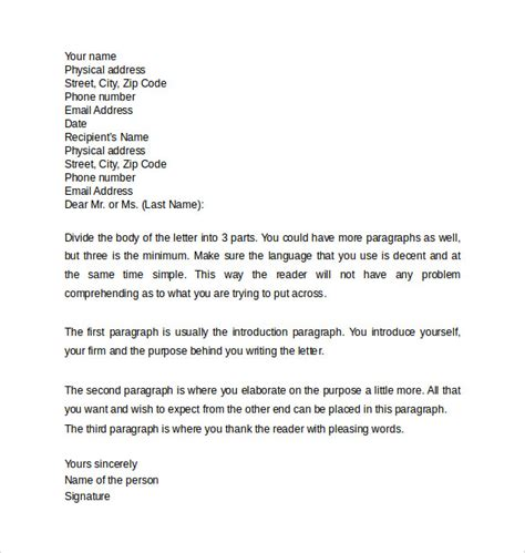 professional business letter format sle professional letter formats 8 free documents