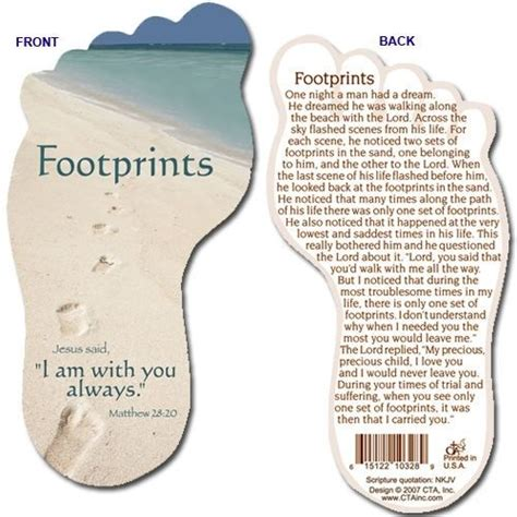 Footprints In The Sand Printable Bookmark the footprints prayer printable footprints in the sand