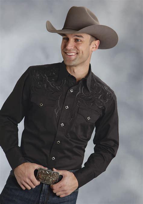 Wst 19697 Black Emrbroidered Shirt roper 174 mens black tribal embroidered sleeve snap west shirt