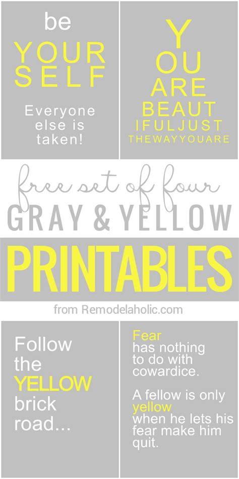 yellow and gray l remodelaholic free yellow and grey printables