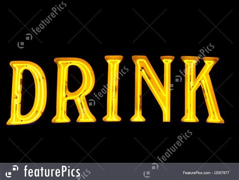 The Word picture of neon sign with the word quot drink quot black