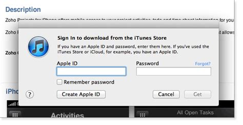 apple id login subscribe from app store and itunes site to access zoho