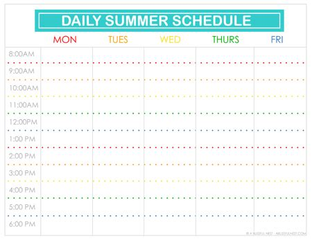 Free Printable Summer Schedule For Kids Free Summer C Schedule Template