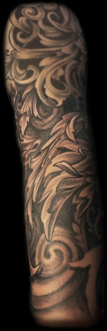 tattoo sleeve fillers maximilian rothert black and grey fancy filigree sleeve