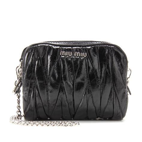 Miu Miu Shoulder Bag by Lyst Miu Miu Matelass 233 Leather Mini Shoulder Bag In Black