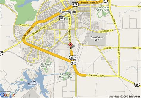 texas map san angelo map of executive inn and suites san angelo san angelo