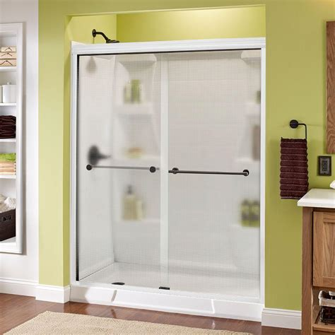 Delta Shower Door Delta Lyndall 60 In X 70 In Semi Frameless Sliding Shower Door In White With Bronze Handle