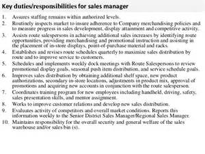 sales manager description