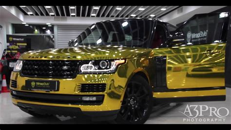 black and gold range rover wrapstyle kuwait range rover gold chrome