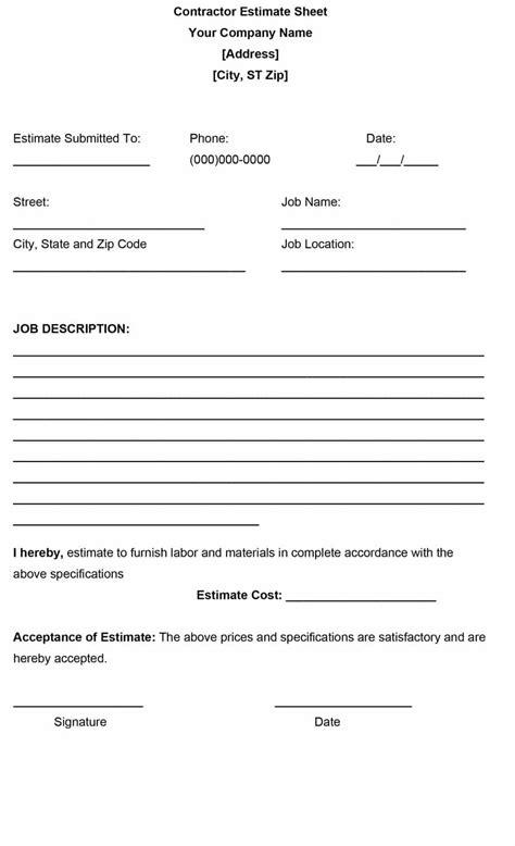 10 sample estimate templates free word excel pdf documents
