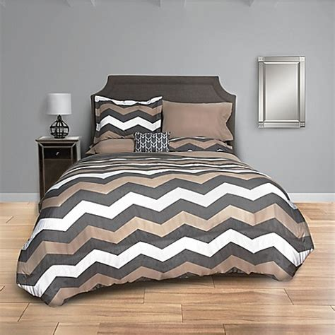 Buy Taupe Chevron 8 Piece King Comforter Set In Taupe Grey Chevron Bedding Set King