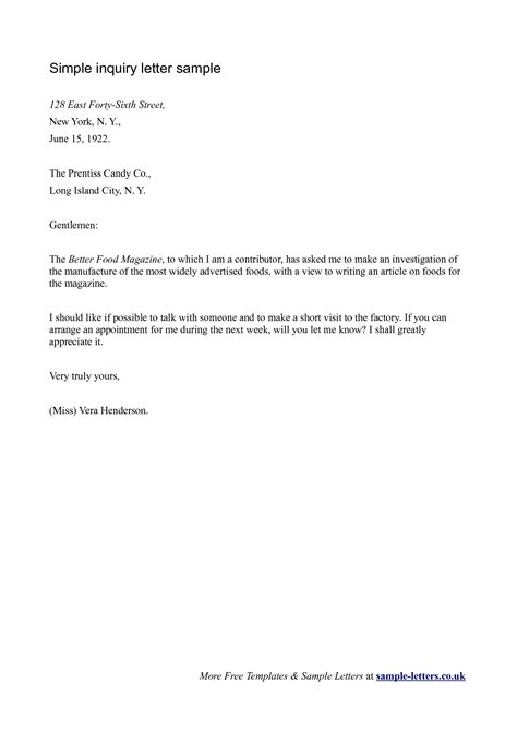 Inquiry Letter Content exle of inquiry letter for business the letter sle