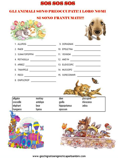 anagrammi lettere anagramma animali giochi enigmistici per bambini in inglese