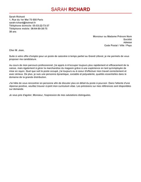 Exemple De Lettre De Motivation Caissière Modele Lettre De Motivation Caissi 232 Re Document