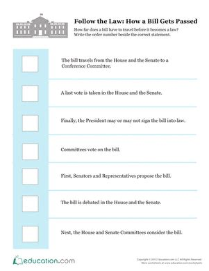 how to read sections of law follow the law how a bill gets passed worksheet