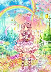 Dessin fille parapluie kawaii moe lolita