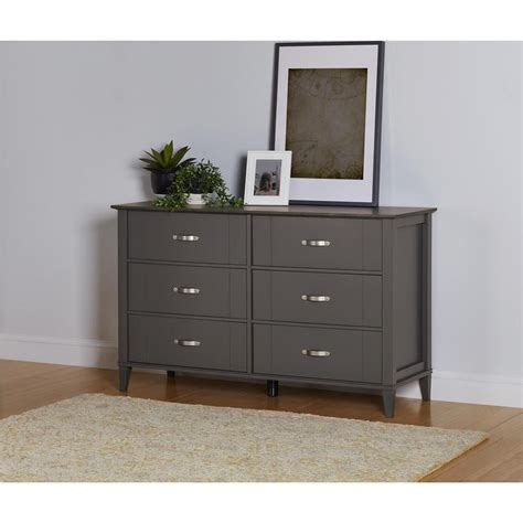 altra furniture quinn 6 drawer gray two tone dresser