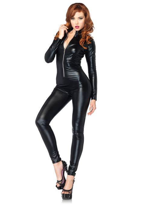 catsuits for women sexy black zipper catsuit