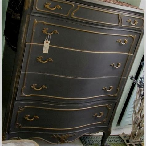 antique white dresser with gold trim chest circa 1930 s handpainted charcoal gray with taupe