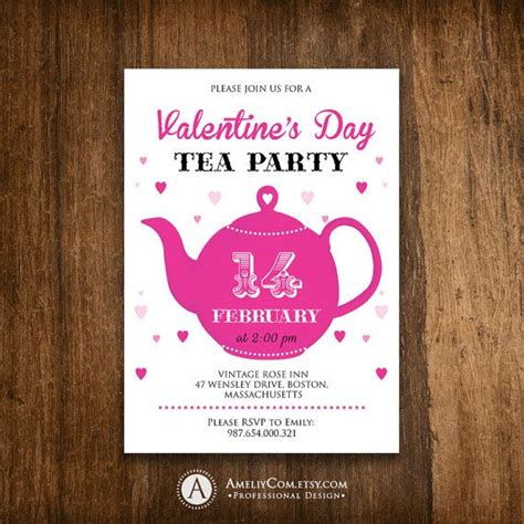 printable valentine invitation printable valentine tea party invitation invite teapot