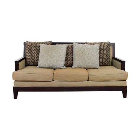 wooden frame sofa with cushions wood framed sofas portside gray finish two cushion wooden