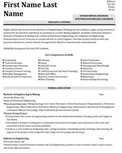 Quality Engineering Resume Sles Top Mining Resume Templates Sles