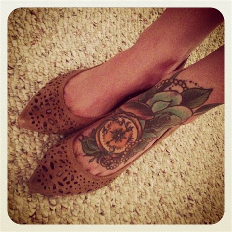 compass tattoo on foot compass foot tattoo 3 5 hours an antique compass for a
