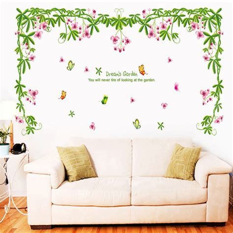 romantic wall stickers for bedrooms romantic flower vine wall sticker living room bedroom wall