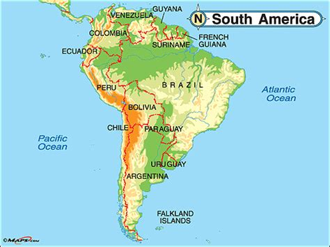 south america map bodies of water south america physical map by maps from maps
