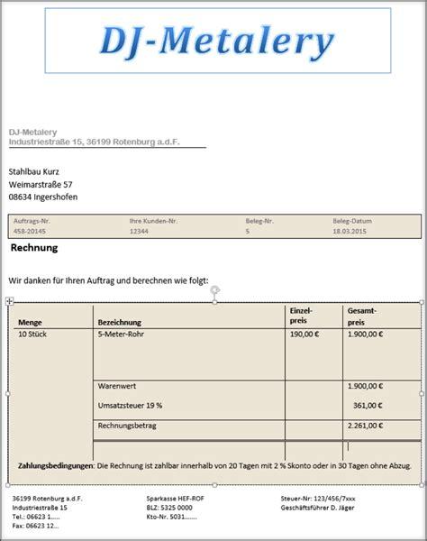 Musterrechnung Freiberufler Lehrer gem 252 tlich beispiel einer rechnungsvorlage zeitgen 246 ssisch