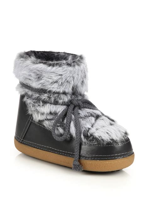 moon shoes for ikkii leather rabbit fur shearling low moon boots in
