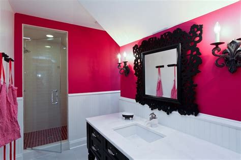 Black And Pink Bathroom Ideas Neon Pink Wall Paint Contemporary Bathroom Benjamin Blanton
