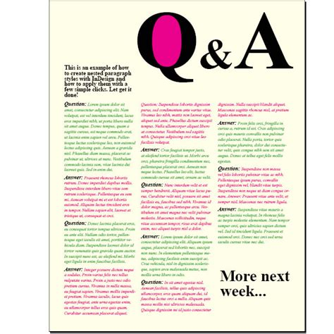 question and answer template creating a question and answer format with indesign nested