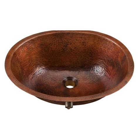 copper undermount bathroom sink shop sinkology aged copper drop in or undermount oval
