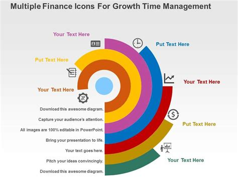 design management grow multiple finance icons for growth time management flat
