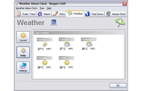 weather alarm clock clock software for pc