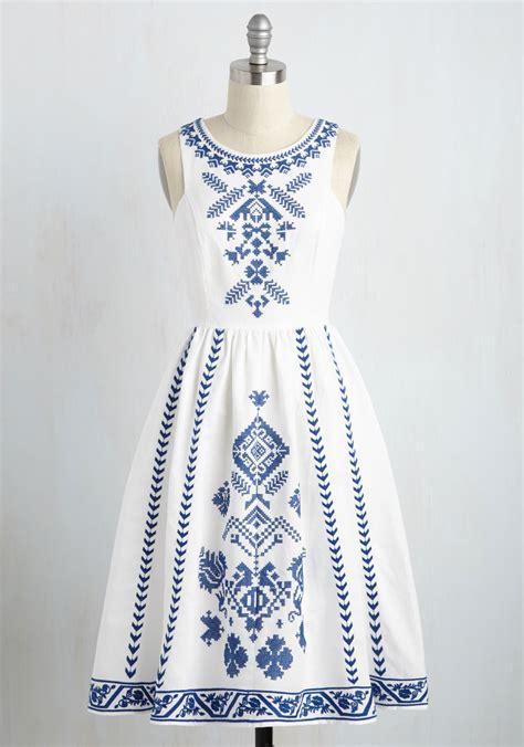 Summer Embroidery Dress cross stitch my a line dress mod retro vintage