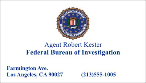 fbi business card templates business card robert kester by cmdrkerner on deviantart