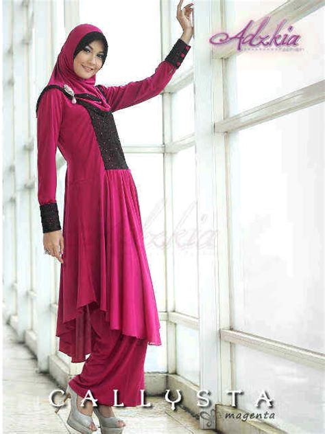 Baju Pesta Adzkia callysta magenta baju muslim gamis modern