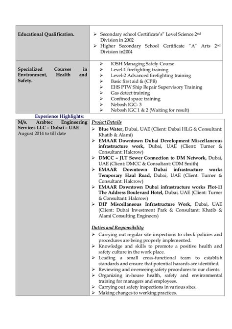 Best Resume Sle For Safety Officer New Cv Hse Officer Nafis 28 Images Professional Construction Safety Officer Templates To