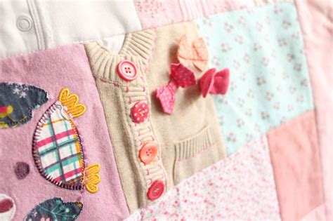 Patchwork Quilt Out Of Baby Clothes - baby clothes keepsake memory quilt patchwork castle