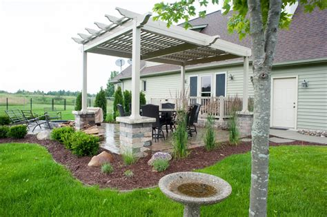 pergola over paver patio with fire pit r amp d landscape