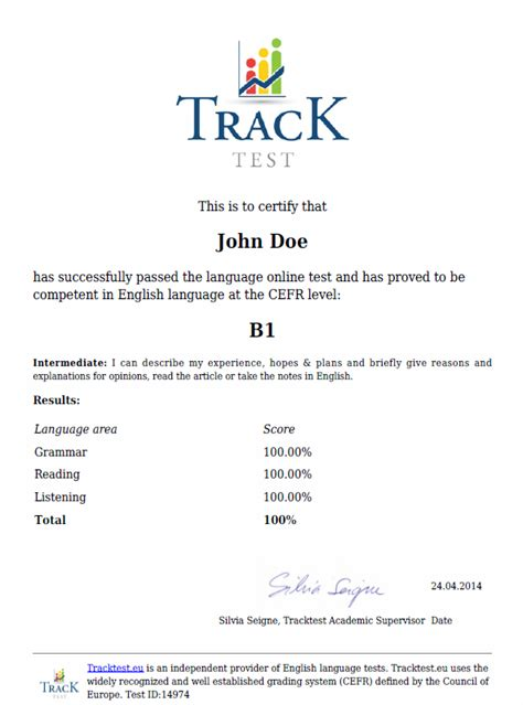 test inglese on line certificate tracktest
