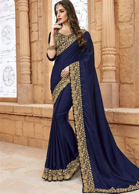 navy blue crepe saree with blouse saree 1694sr09