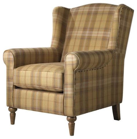 collins wingback chair brown plaid traditional