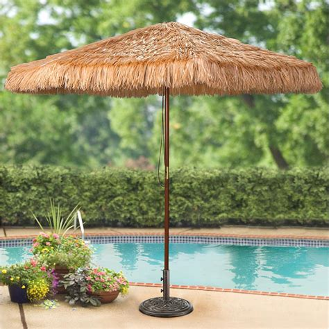 Bamboo Patio Umbrella Castlecreek 9 Thatched Tiki Patio Umbrella Wooden Pole 233821 Patio Umbrellas At Sportsman