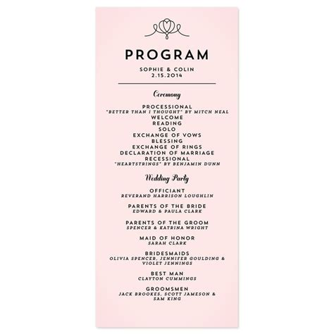 Wedding Reception Program Sle Wording Mini Bridal Wedding Reception Program Template 2